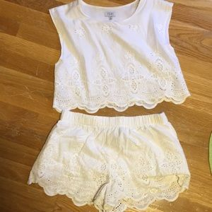 White embroidered two piece set from Tobi